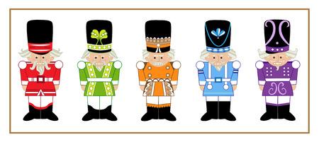 hombre rojo: Cascanueces - Juego de cinco cascanueces de dibujos animados en diferentes dise�os y colores. Eps10