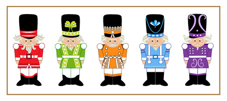 orange man: Nutcrackers - Set of five cartoon nutcrackers in different designs and colors. Eps10