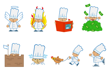 Tiny Chef Angel - Fun set of eight chef emoticons doing different things. Eps10 Vector