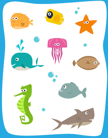 Sea Creatures - Cartoon set of nine cute baby sea creatures. Eps10 Vector
