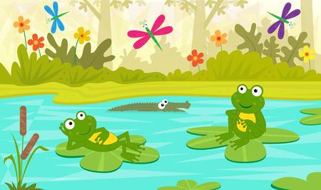 연못 - 두 귀여운 개구리 수련에 앉아 화려한 잠자리를 찾고 있습니다. EPS10 일러스트