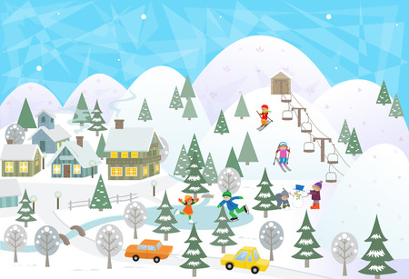 Fun In The Snow - Detailed scenery of a town in snow with mountains, lake and people doing activities.