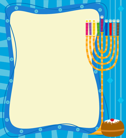 Menorah Note - Blank banner with decorative background and a menorah Stok Fotoğraf - 32868617