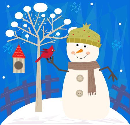雪だるま、鳥 - 鳥と雪だるまに巣箱と装飾的な背景を持つツリーの横に立っています。Eps 10  イラスト・ベクター素材