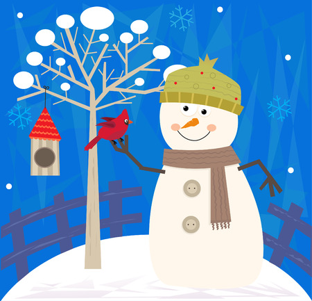 Snowman and Bird - Snowman with a bird is standing next to a tree with a birdhouse and decorative background. Eps 10