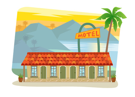 shingles: Motel - Cute motel with palm tree at the front and landscape of mountains, sea and palm trees in the background.