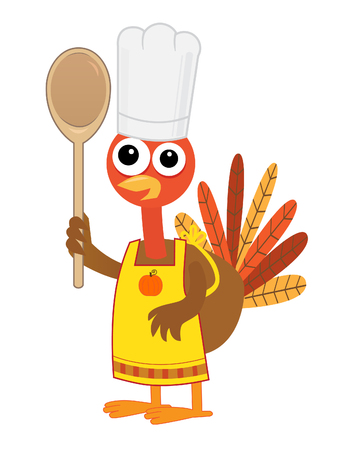 Turkey With Spoon - Cartoon turkey with chef hat, apron and a spoon.  Vector