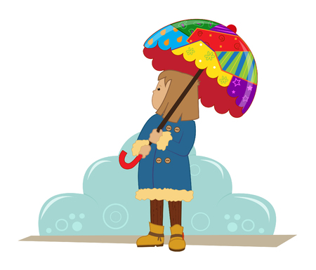rainy season: Winter Girl - Cute girl with a colorful umbrella is standing in front of a stylized cloud.  Illustration