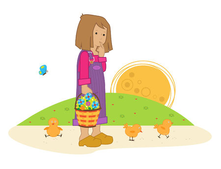 girl cute: Spring Girl - Cute girl holding a basket with flower is standing next to three chicks. Eps10