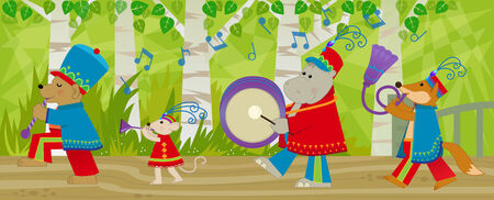 marching band: Animal Marching Band - Forest animals with marching band uniform and musical instruments are marching in the forest. Eps10