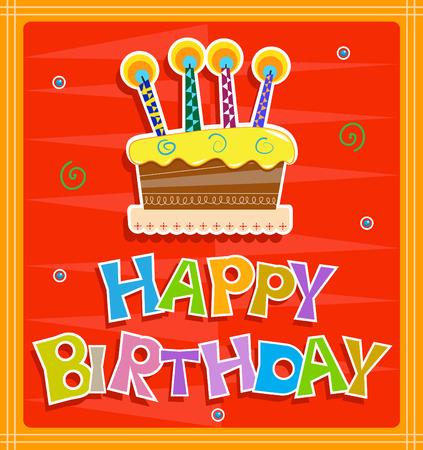 Tarjeta de cumpleaños feliz - Alegre diseño de tarjetas de felicitación de cumpleaños con colorido feliz del texto del cumpleaños y torta con velas. Eps10 Foto de archivo - 33919888