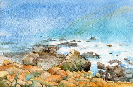 Rocky Beach - Watercolor painting of a rocky beach landscape.