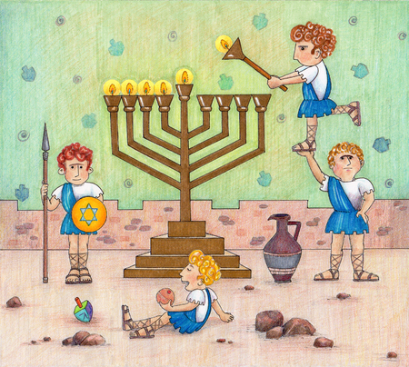 Maccabees Lighting Menorah - Funny Illustration of the Maccabees lighting a menorah. Stok Fotoğraf