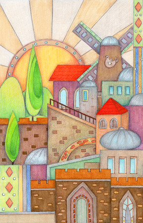 holy place: Colorful Jerusalem - Colorful and artistic design of Jerusalem made with markers and colored pencils.