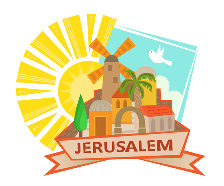 holy place: Jerusalem Icon - Cute clip art of Jerusalem with a sun and a dove in the background and the word Jerusalem at the front. Eps10 Illustration