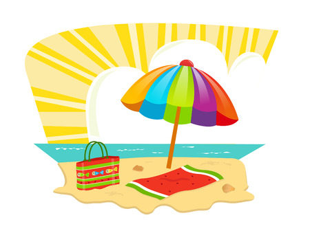 tote: Beach Icon - A sandy beach with umbrella, towel and a tote bag.  Eps10