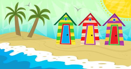 kleedkamer: beach kleedkamers - Kleurrijke strand kleedkamers bij de zee. Eps10