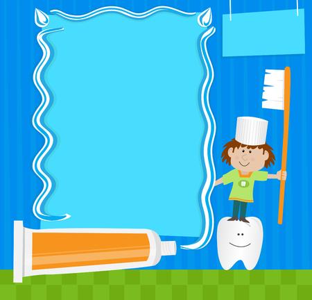 歯磨き粉注 - かわいいキャラクターは歯ブラシを持って、空白記号の横に立っています。Eps10