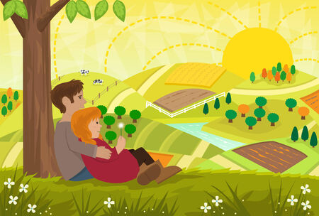 rural road: Romantic Landscape - Young couple are sitting under a tree and looking at a beautiful landscape. Eps Illustration