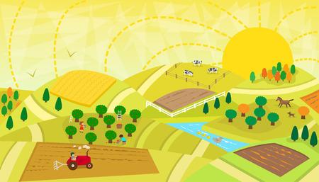 Rural Landscape Vectores