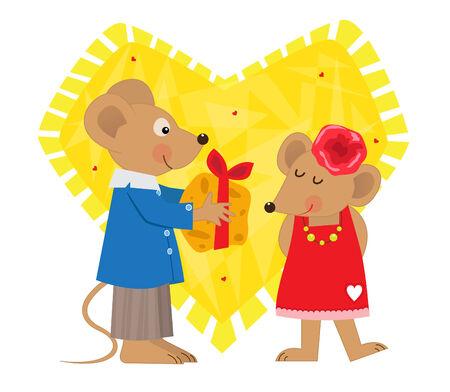 발렌타인 데이 마우스 - 귀여운 마우스는 귀여운 여자 마우스에 치즈를 제공합니다.