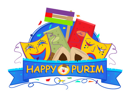 purim mask: Mask Purim Banner - Happy Purim banner with Purim masks, gragger and goodies. Eps10