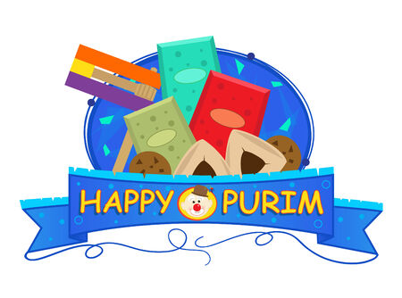 Purim Banner - Colorful Purim banner with Purim elements. Eps10 Stok Fotoğraf - 34863304