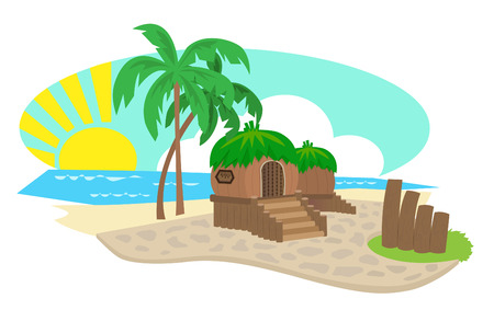 bungalow: Bungalow - Small wooden bungalows on an island with palm trees and an ocean view. Eps10 Illustration