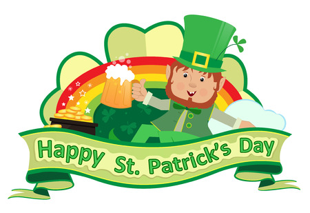 irish beer: St. Patricks Banner - Festive St. Patrick?s banner of a cute leprechaun with beer and a rainbow with a pot of gold. Eps10 Illustration