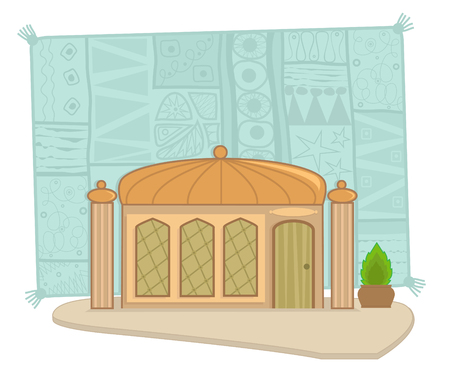 Indian building - Indian building with a dome, pillars and decorative background.
