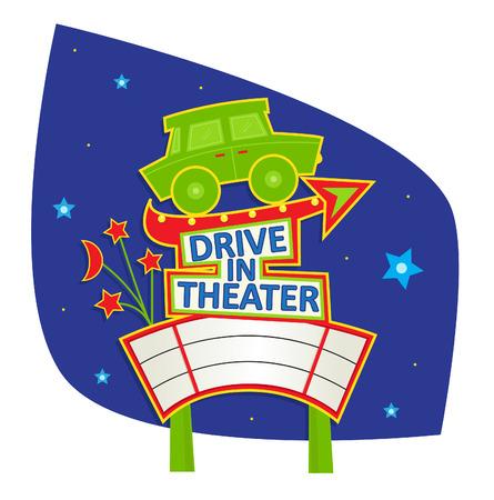 Conduzca en teatro - muestra linda con el coche, flecha, signo de la película en blanco y cielo de la noche en el fondo.