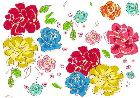 Floral Pattern - Colorful and decorative floral pattern.  Ilustração