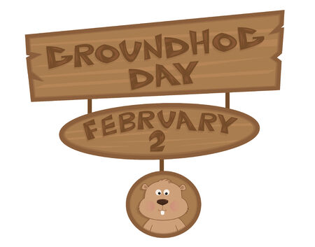 Groundhog Day Sign - Cartoon Groundhog Day Sign with cute groundhog at the bottom.  Ilustração