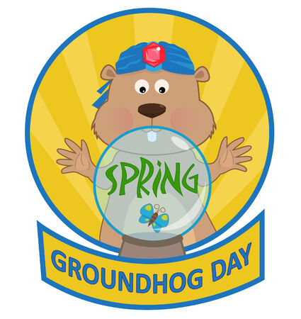 north american butterflies: Psychic Groundhog - Cute cartoon groundhog with a crystal ball. Eps10