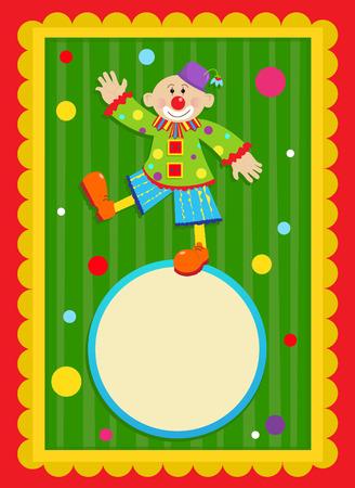 payaso: Payaso Sign - payaso alegre se est� colocando en una muestra en blanco en forma de una pelota. Con un fondo colorido y decorativo. Eps10
