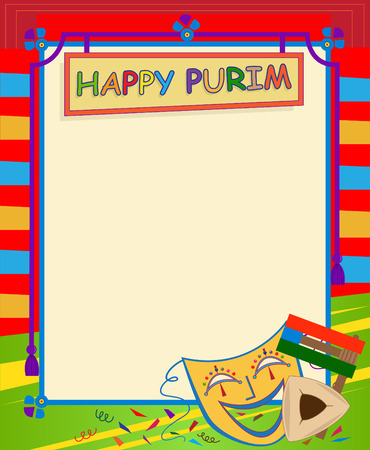 purim mask: Purim Blank Sign - Cheerful Happy Purim sign with Purim elements and blank area for text in the center. Eps10