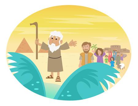 Moses Splitting The Sea - Cute cartoon di Mosè dividere il Mar Rosso con il israelita di lasciare l'Egitto. Eps10