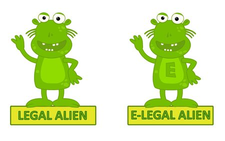 illegal alien: Legal Alien Vs E-legal - Humorous cartoon of legal alien and e-legal alien, Eps10