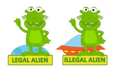 Legal Illegal Alien - Humorous cartoon of legal alien and illegal alien, Eps10
