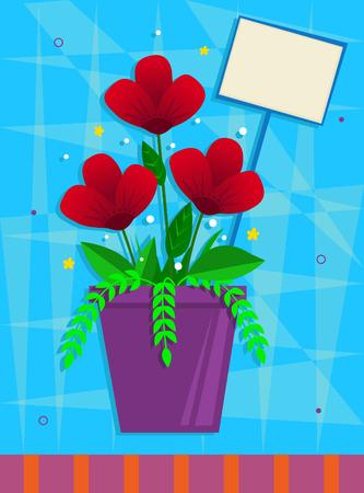 붉은 꽃 - 파란 장식 배경 앞에 자주색 냄비에 붉은 꽃. Eps10 일러스트