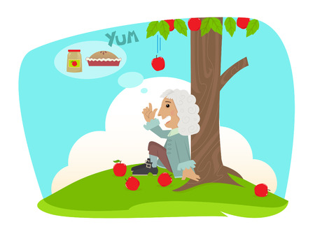 Man is sitting under an apple tree and getting ideas of applesauce and apple pie Ilustracja