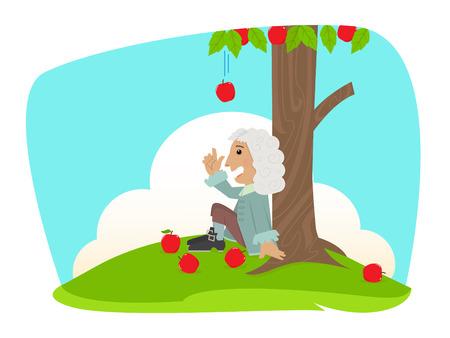 manzana caricatura: hombre está sentado bajo un manzano Vectores
