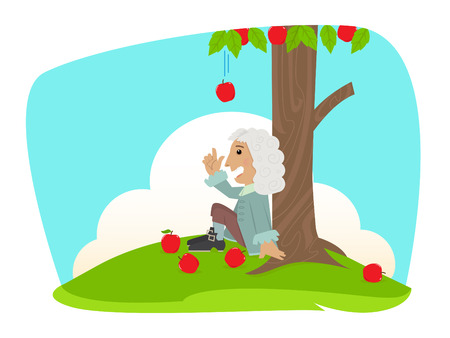 man is sitting under an apple tree