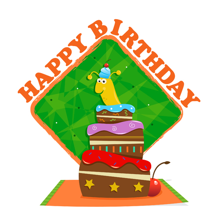 popping: Birthday Slug - Cute banana slug is popping out of a birthday cake in front of a happy birthday sign with decorative background Illustration