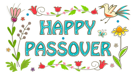 passover: Colorful Passover Sign - Floral banner with happy Passover text in the center. Eps10 Illustration