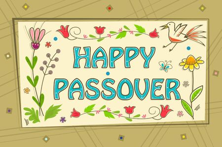Passover Sign - Floral banner with happy Passover text in the center and a decorative background. Eps10