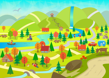 detailed view: Summer in the Mountains - Detailed illustration of a river, mountains, cabins, animals and people doing activities.