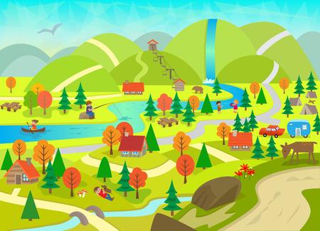Zomer in de bergen - Gedetailleerde illustratie van een rivier, bergen, cabines, dieren en mensen die activiteiten. Stockfoto - 36809235