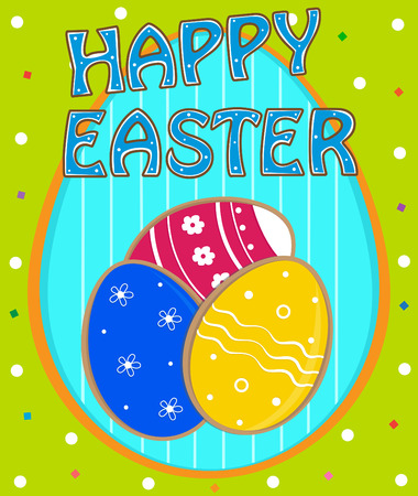 holiday celebrations: Happy Easter Card - Colorful design of Easter eggs on decorative background, with happy Easter text at the top. Eps10