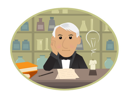 hombre caricatura: Edison - Cartoon Thomas Edison est� sentado detr�s de su escritorio y conseguir ideas innovadoras. Eps10 Vectores